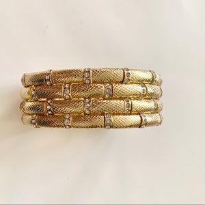 Four Row Stretch Bracelet in Goldtone